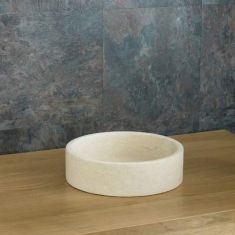 Small Round Cream Limestone Natural Stone Hand Basin 320mm x 80mm PADUA