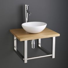 Ceramic Basin and Solid Oak Shelf Kit
