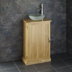Slimline Solid Oak Bathroom Cabinet + Frosted Glass Basin Set CUBE50