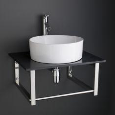 60cm x 50cm Black Marble Shelf / Brackets with 41cm Dia Caserta Basin + Tap