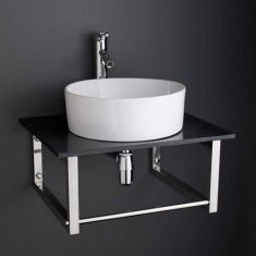 60cm x 50cm Black Marble Shelf / Brackets with 41cm Dia Caserta Basin + Tap