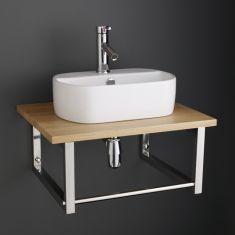 Modern 440mm Oval Sienna White Bathroom Sink with Solid Oak Shelf Set 600K