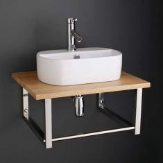 Modern 440mm Oval Sienna White Bathroom Sink with Solid Oak Shelf Set 600K