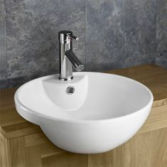 Large Round Semi Recessed Bathroom Washbasin 440mm ALSACE