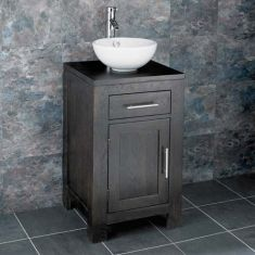 Freestanding Wenge Dark Oak Vanity Unit +  Round Sink Set ALTA45W