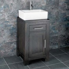 Wenge Dark Oak Cloakroom Vanity Cabinet + Rectangle Basin Set ALTA45W