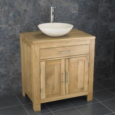 Solid Oak Double Door Bathroom Basin Cabinet With Portici Stone Basin