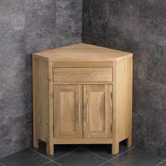Large Bathroom Natural Oak Corner Bathroom Storage Vanity Cabinet ALTAL