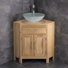 Family Round Frosted Glass Bathroom Basin + Oak Corner Traditional Vanity Unit ALTAL