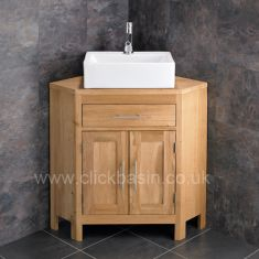 Large Corner Bathroom Oak Vanity Cabinet + Barletta Rectangular Basin Set