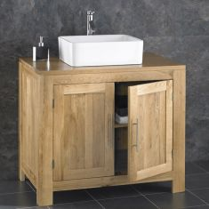 Large Solid Oak Bathroom Vanity Cabinet 900mm + Choice of Basin Set ALTA90