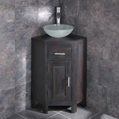 Alta Corner WENGE Oak Cabinet With Basin