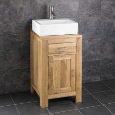 Oak Square Cloakroom Storage Unit 450mm + Rectangle Basin Set ALTA45