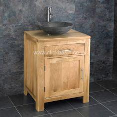 Solid Oak Bathroom Vanity Unit 600mm + Black Natural Stone Bowl Set ALTA60