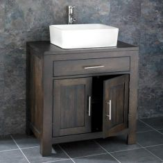 Wenge Dark Oak Large Bathroom Unit 750mm + Rectangle Sink Set ALTA75W