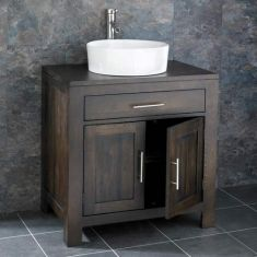 Large Dark Oak Wenge Bathroom Vanity Cabinet 750mm  + Round Basin Set ALTA75W
