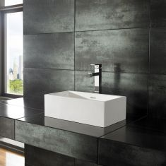 Alto Narrow Pure White Solid Surface Basin