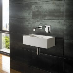Wall Mounted Alto Pure White Solid Surface 45cm x 25cm Rectangular Basin - No Tap Hole