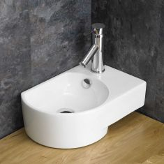 Above Counter White Bathroom Bowl Sink with Overflow Right Hand AVERSA