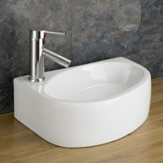 Above Counter Rectangle  White Cloakroom Sink Left 420mm x 290mm BALSAMO