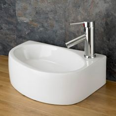 Counter Top Rectangle White Cloakroom Sink 420mm x 290mm Right BALSAMO