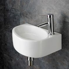 Wall Hung Rectangle Cloakroom Washbasin  430mm x 290mm Right BALSAMO