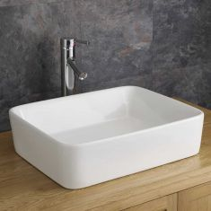 White Large Rectangle Above Counter Bathroom Sink 480mm x 380mm BALZANO
