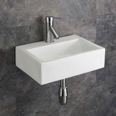 Small Bathroom Wall Hung White Rectangle Sink 430mm x 325mm BARLETTA