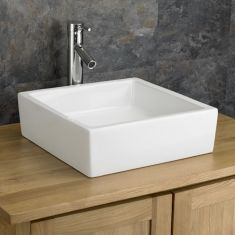 Freestanding Counter White Family Bathroom Basin 400mm Square BERGAMO