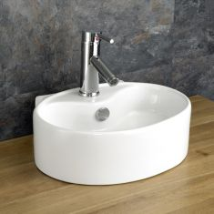 Cloakroom Ensuite Oval White Ceramic Counter Sink 400mm x 300mm BITONTO