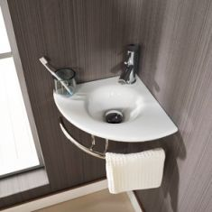 Corner White Glass Wall Hung Small Cloakroom Sink Set 350mm BRESCIA