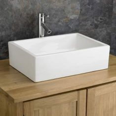 Large Freestanding Rectangle White Basin Sink 520mm x 370mm CAGLIARI