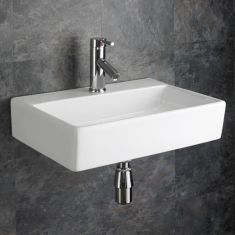 Wall Hung Rectangle White Bathroom Sink 510mmm x 360mm CALABRIA Large