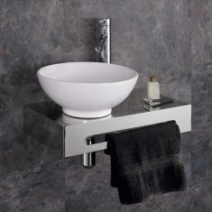 Metal Bathroom Basin Shelf + White Round Ceramic 320mm Basin Set CASORIA
