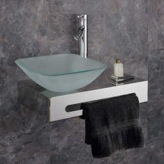 Metal Bathroom Basin Shelf + Frosted Square Glass 310mm Basin Set CASORIA