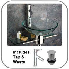 Padova Round Glass Basin and Aluminium Stand