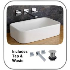 Reggio 490mm by 300mm Rectangular Counter Top Bathroom Sink with Wall Mounted Tap and Basin Waste