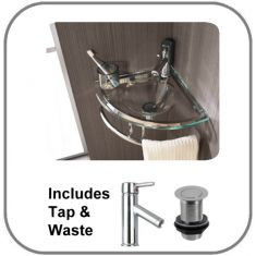 Corner Clear Glass Wall Hung Small Cloakroom Sink Set 350mm BRESCIA