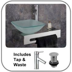 Casoria Wall Mounted Frosted Basin Set