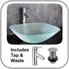 Monza Square Frosted Basin Set