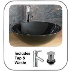 Monza Round Black Glass Basin Set