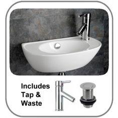 San Remo Wall Mounted Basin + Tap + Waste Set