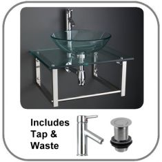 Portici Basin and Glass Shelf Set