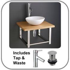Ceramic Basin and Solid Oak Shelf Kit
