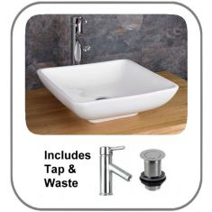 Carrara Sink Basin With Tap and Waste Set