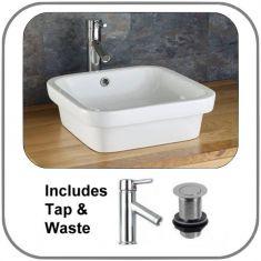 Vizela Sink Basin With Tap and Waste Set