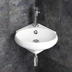 Corner Cloakroom Wall Mounted White Wash Basin 360mm x 390mm CESENA