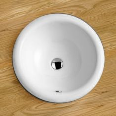 Large Round Self-Rimming White Inset Bathroom Sink 420mm Diameter COMO
