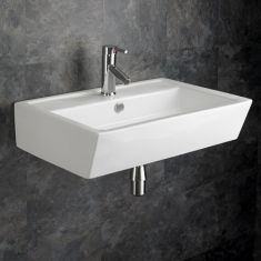 White Wall Mounted Large Rectangle Bathroom Basin 630mm x 430mm CREMONA