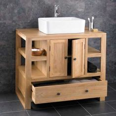 Large multi storage vanity unit with choice of basin set 900mm x 550mm -CUBE90